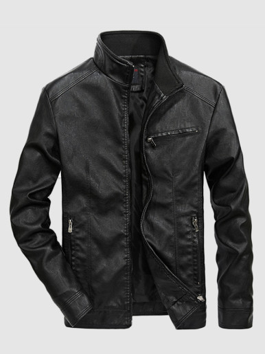 Men's Stand Collar Slim PU Leather Jackets