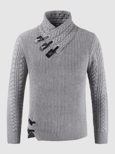 Patchwork Wrap Collar Men Knitred Sweater