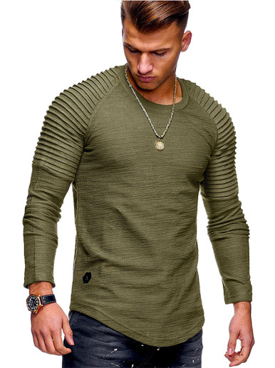 Corrugation Long Sleeve Men's Casual T-shirt