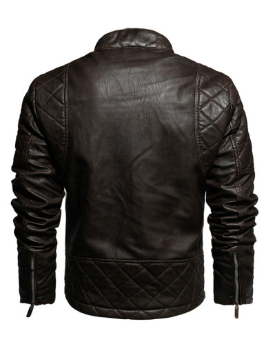 Men's Faux Leather Quilted Jacket with Fleece Lining
