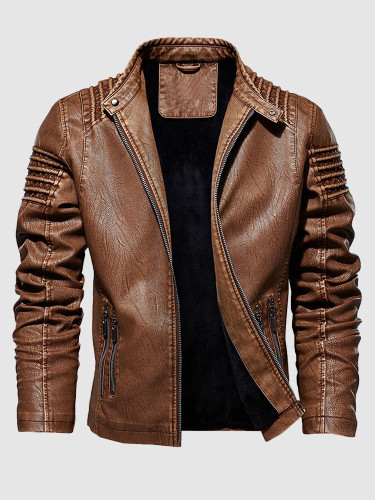 Quilted Zip Up Leather Jacket For Men