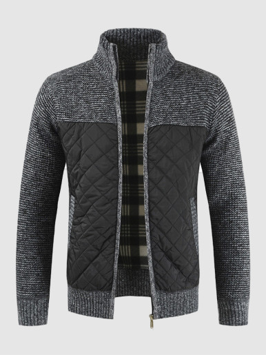 Patchwork Stand Collar Men's Sweater Jackets