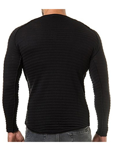 Striped Knitted Slim Men Sweaters