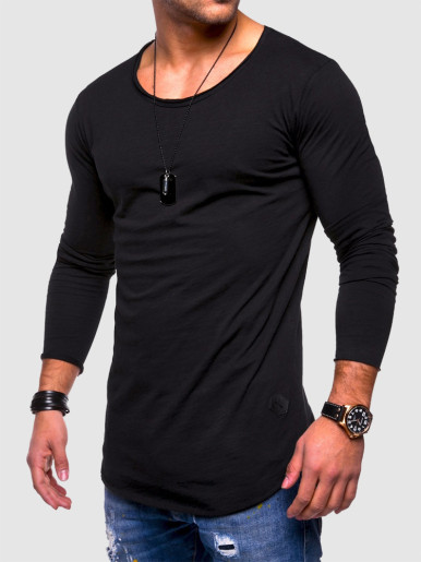 Solid Color Long-sleeve O-neck Casual Men T-shirt
