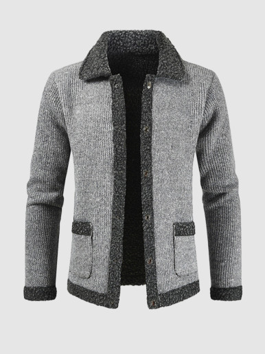 Warm Fur Patchwork Men Cardigan