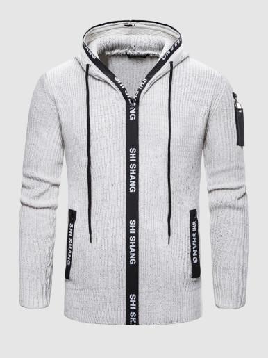 Letters Zipper Hooded Men Sweaters