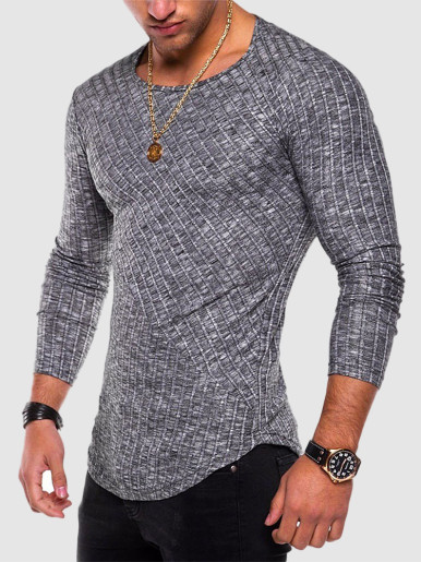 Men Striped Long Sleeve Slim T-shirt