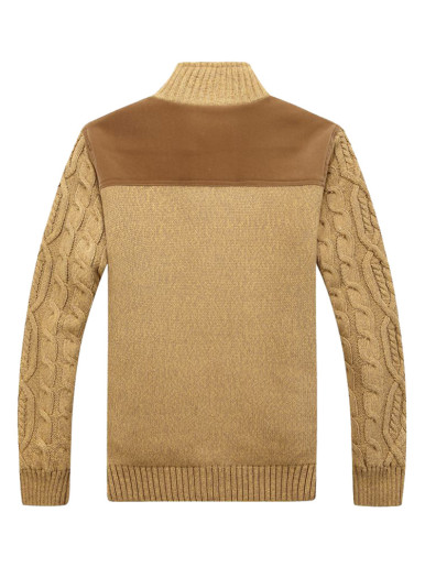 Contrast Panels Men Sweater with Faux Fur Lining