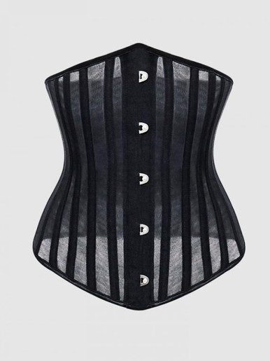 Burvogue Corsets and Bustiers Women Breathable 24 Steel Boned Corset Thin Mesh Underbust Slimming Belt Waist Trainer Corset Sexy
