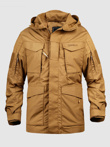 Men's Hooded Tactical Jacket with Pockets