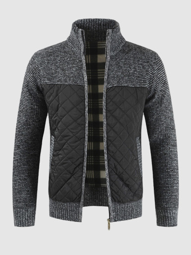 Zip Through Knitted Cardigan with Quilted Detail