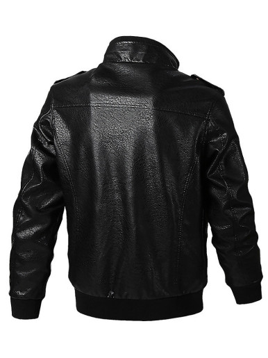 Faux Leather Men's Tactical Jacket