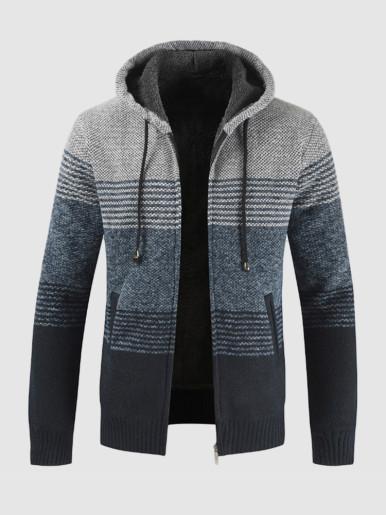 Faux Fur Lined Stripe Knit Men Hooded Cardigan