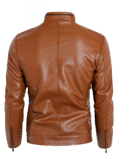 Plus Velvet Lining Faux Leather Mens Jacket