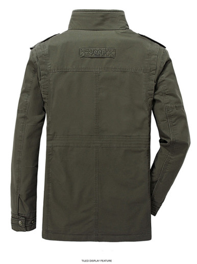 Plus Funnel Neck Men's Utility Tactical Jacket