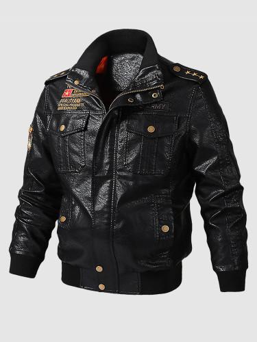 Faux Leather Men's Tactical Jacket