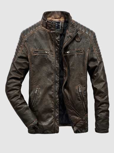 Men Vintage PU Leather Motorcycle Jackets