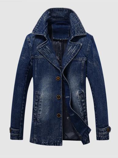 Wash Denim Jacket For Men
