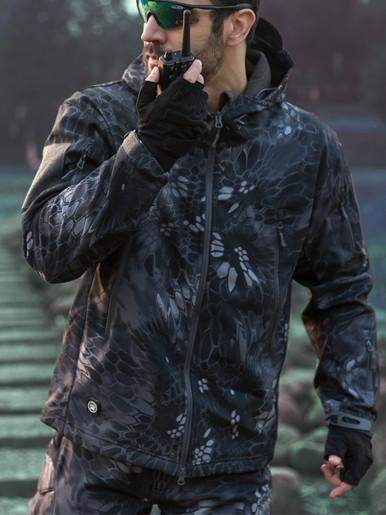 Plus Size Men's Hooded Camo Jacket