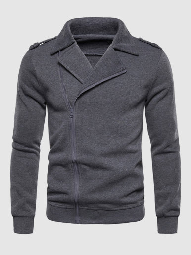 Solid Zip Through Mens Jacket