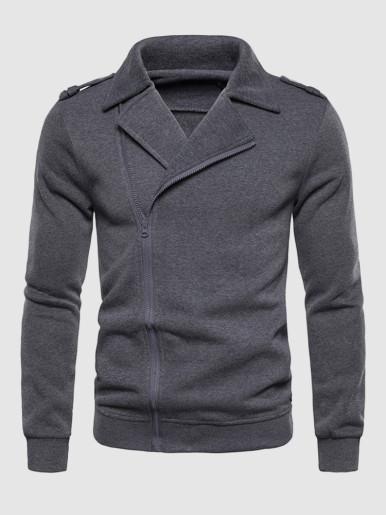 Solid Zip Through Mens Jacket
