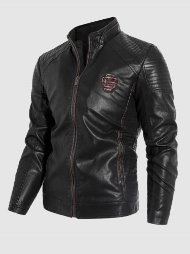 Plus Velvet Lining Faux Leather Mens Jacket