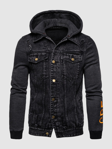 Men's Denim Jacket with Jersey Hood and Sleeves