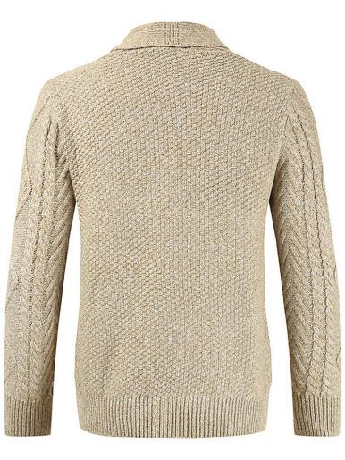 Cable Knit Shawl Collar Men Cardigan