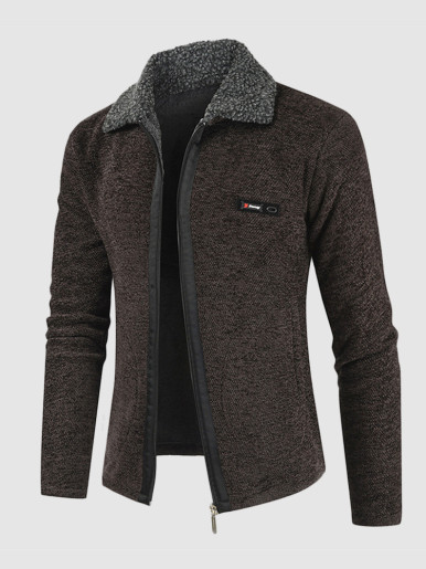 Faux Fur Lined Knitted Men's Cardigan