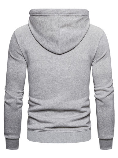 Men Hooded Zip Through Fleece Sweatshirt