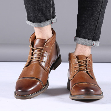 Lace Up Genuine Leather Boots For Men