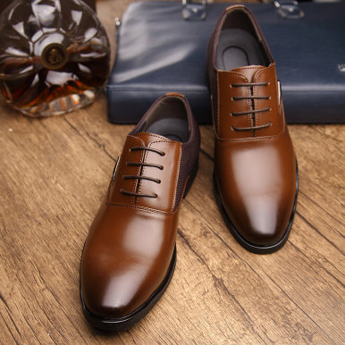 Men Leather Shoes with Contrast Toe