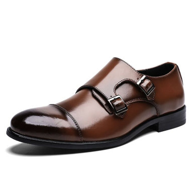 Double Buckle Men Leather Shoes with Toe Cap