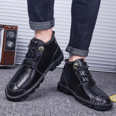 Microfiber Leather Soft Men Lace Up Boots