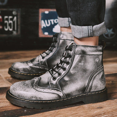 Genuine Leather Brogue Men Boots