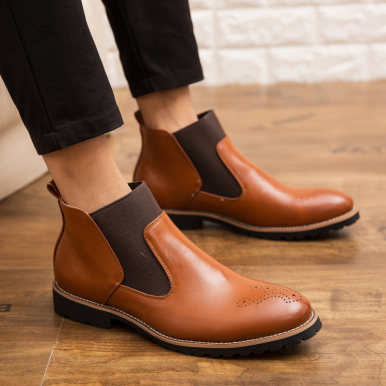 Leather Brogue Chelsea Ankle Boots For Men