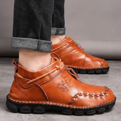 Stitch Detail Genuine Leather Boots For Men