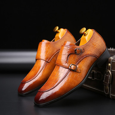 Faux Crocodile Leather Double Buckle Men Shoes