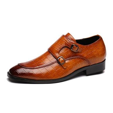 Faux Crocodile Leather Double Buckle Men Shoes