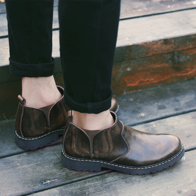 Genuine Leather Chunky Sole Men Chelsea Boots