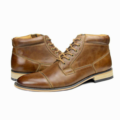 Genuine Leather Zipper Boots For Men
