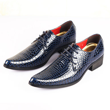 Lace Up Men Leather Shoes In Embossed Snakeskin