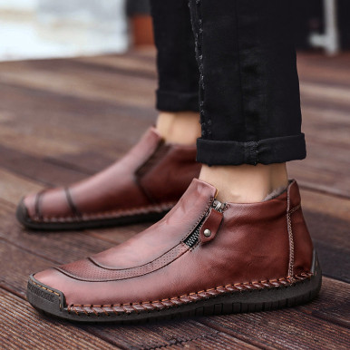 Faux Fur Lined Leather Boots For Men