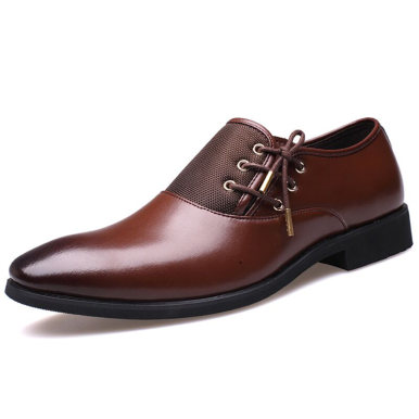 Faux Leather Men's Loafers with Lace-up Detail