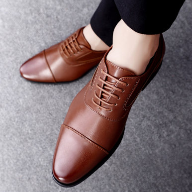 Men Leather Oxford Shoes with Toe Cap