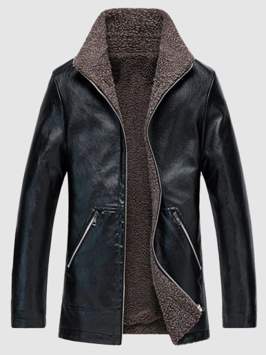 Men's Fleece Lined Faux Leather Jackets
