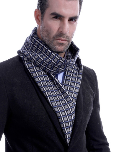 Checkered Cashmere Wool Men Scarf