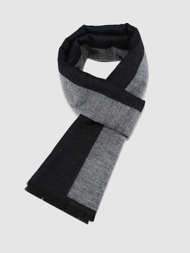 Border Reversible Wool Gents Scarf with Tassel Trim