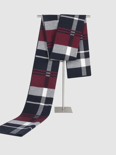 Men's Reversible Wool Scarf In Check Print