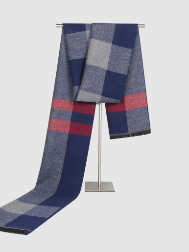 Red Highlight Check Cashmere Men Scarf